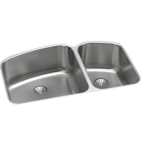 "Elkay Lustertone Stainless Steel 32-3/4"" x 21"" x 9"", 60/40 Double Bowl Undermount Sink with Perfect Drain"