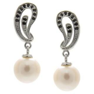 White Freshwater Pearl Black Spinel Dangling Drop Earrings Jewelry for Women
