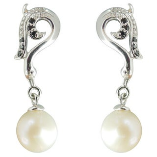 Freshwater Pearl and Spinel Seabreeze Dangle Earrings (7-8 mm)