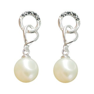 Freshwater Pearl and Spinel Interlocking Dangle Earrings (7-8 mm)