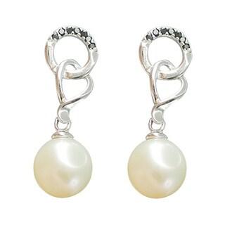 White Freshwater Pearl Black Spinel Interlocking Dangle Drop Earrings Jewelry for Women