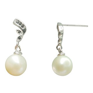 Freshwater Pearl and Spinel Ribbon Dangle Earrings (7-8 mm)