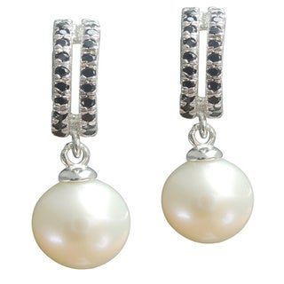 Freshwater Pearl and Black Spinel Double Row Dangle Earrings (7-8 mm)