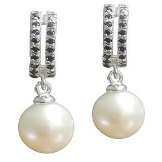White Freshwater Pearl Black Spinel Drop Earrings Jewelry for Women