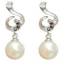 White Freshwater Pearl Black Spinel Clef Drop Earrings Jewelry for Women