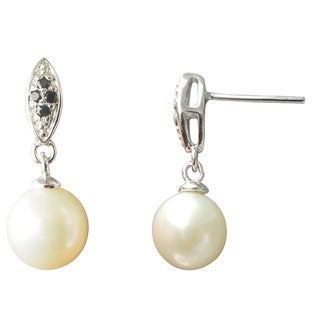 Freshwater Pearl Black Spinel Drop Earrings Jewelry for Women - White