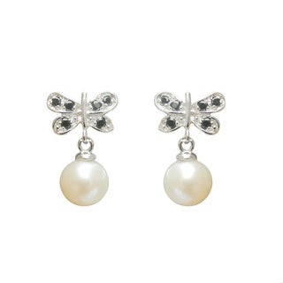 Freshwater Pearl and Spinel Butterfly Dangle Earrings (7-8 mm)