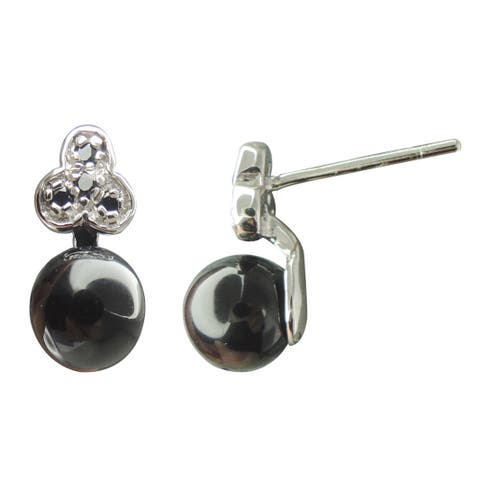 Black Onyx and Spinel Bow Key Dangle Earrings