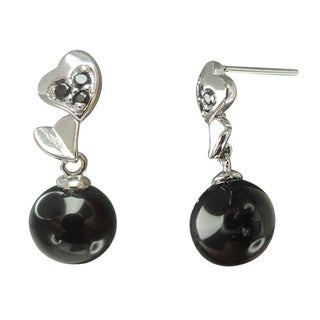 Black Onyx and Spinel Stacked Hearts Dangle Earrings Jewelry for Womens