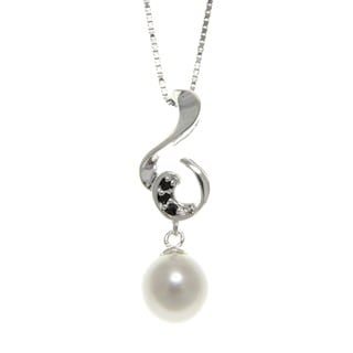 Freshwater Pearl and Spinel Clef Necklace (7-8 mm)