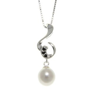 Freshwater Pearl and Spinel Clef Necklace (7-8 mm) Jewelry for Womens