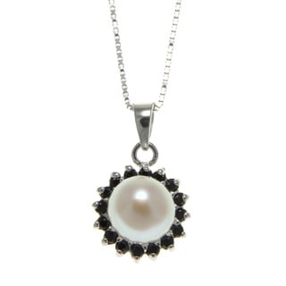 Freshwater Pearl and Spinel Sunflower Necklace (7-8 mm)