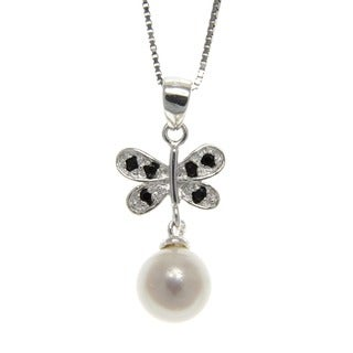 Freshwater Pearl and Spinel Butterfly Necklace (7-8 mm)