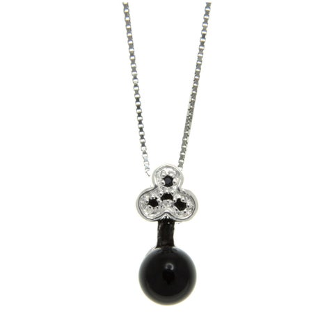 Black Onyx and Spinel Bow Key Pendant Necklace Jewelry for Womens