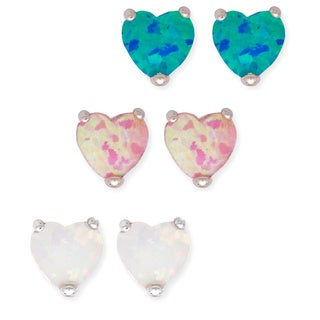 La Preciosa Sterling Silver Set of 3 Created Opal Heart Stud Earrings