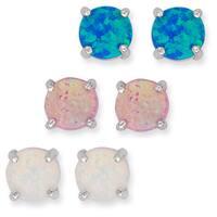 La Preciosa Sterling Silver Set of 3 Created Opal Circle Stud Earrings
