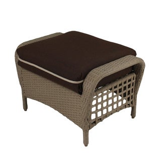 Somette Sierra Outdoor Ottoman with Brown Cushion