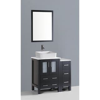 Bosconi AW124RC1S 36-inch Single Black Vanity with Mirror and Faucet