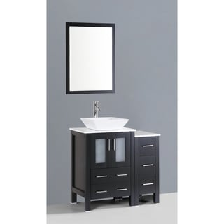 Bosconi AW124S1S 36-inch Single Black Vanity with Mirror and Faucet