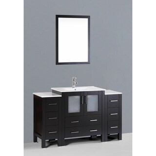 Bosconi AW130U2S 54-inch Single Black Vanity with Mirror and Faucet