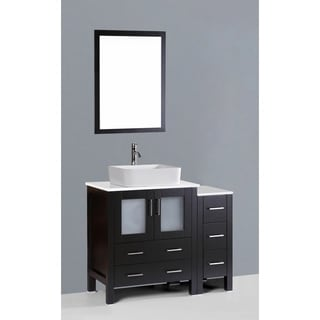 Bosconi AW130RC1S 42-inch Single Black Vanity with Mirror and Faucet