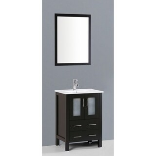 Bosconi AB124U 24-inch Single Black Vanity with Mirror and Faucet