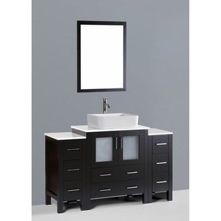 Bosconi AW130RC2S 54-inch Single Black Vanity with Mirror and Faucet