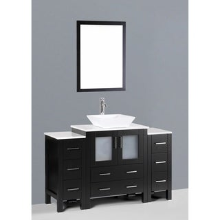 Boscnoi AW130S2S 54-inch Single Black Vanity with Mirror and Faucet