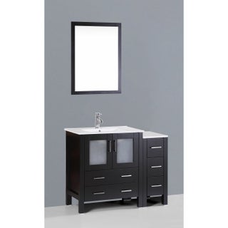 Bosconi AW130U1S 42-inch Single White and Black Vanity with Mirror and Faucet (2 options available)