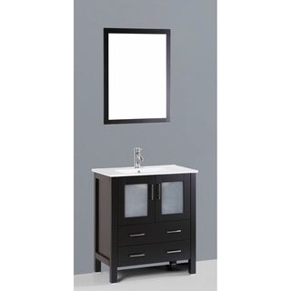 Bosconi AB130U 30-inch Single Black Vanity with Mirror and Faucet