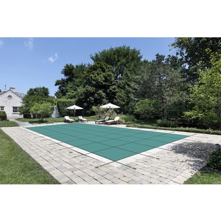 WATERWARDEN 'Made to Last' 16 x 32 ft. Green Mesh Pool Safety Cover with 4 x 8 ft. Left Step for 14 x 30 ft. Pools
