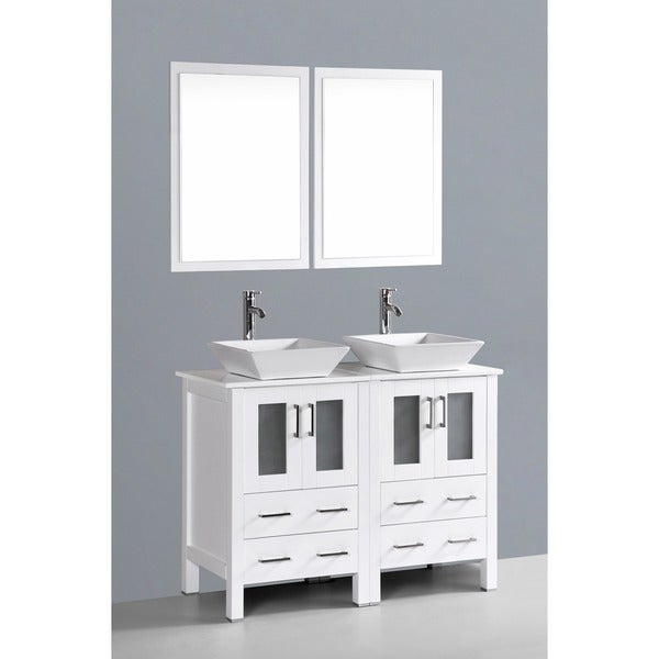 48 inch double vanity sink. Bosconi AB224S 48 inch Double Vanity with Mirrors and Faucets