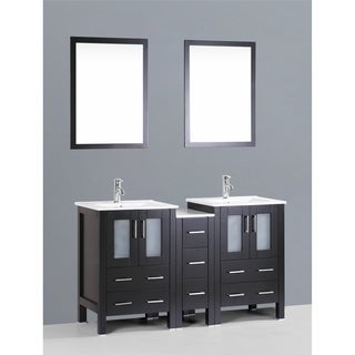 Bosconi AB224U1S 60-inch Double Vanity with Mirrors and Faucets