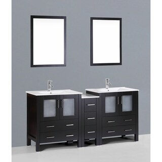 Bosconi AB230U1S 72-inch Double Vanity with Mirrors and Faucets