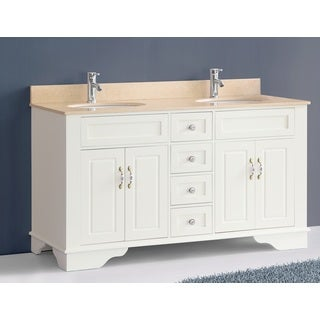 59-inch Bosconi A-5092C Classic Double White Vanity