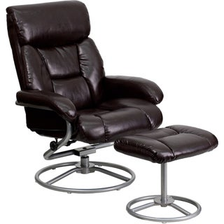 Contemporary Leather Recliner and Ottoman with Metal Base