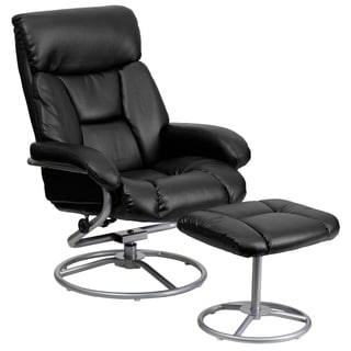 Contemporary LeatherSoft Recliner and Ottoman with Metal Base