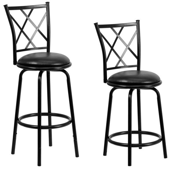 Black Metal Dual 29 Inch Height Counter Or Bar Stool With