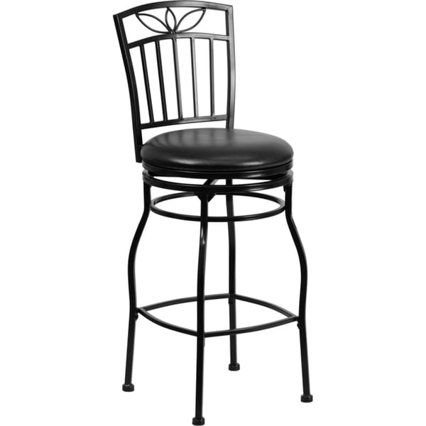 29 Inch Black Metal Bar Stool With Black Leather Swivel