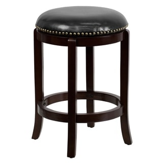 "24"" High Backless Cappuccino Counter Height Stool with Black LeatherSoft Seat"