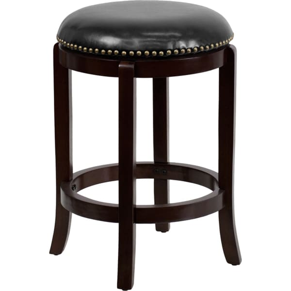 Shop Backless Wood 24 Inch Counter Height Stool With Leather Swivel
