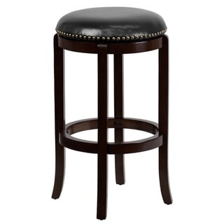 """29"""" High Backless Cappuccino Wood Barstool with Black LeatherSoft Swivel Seat"""