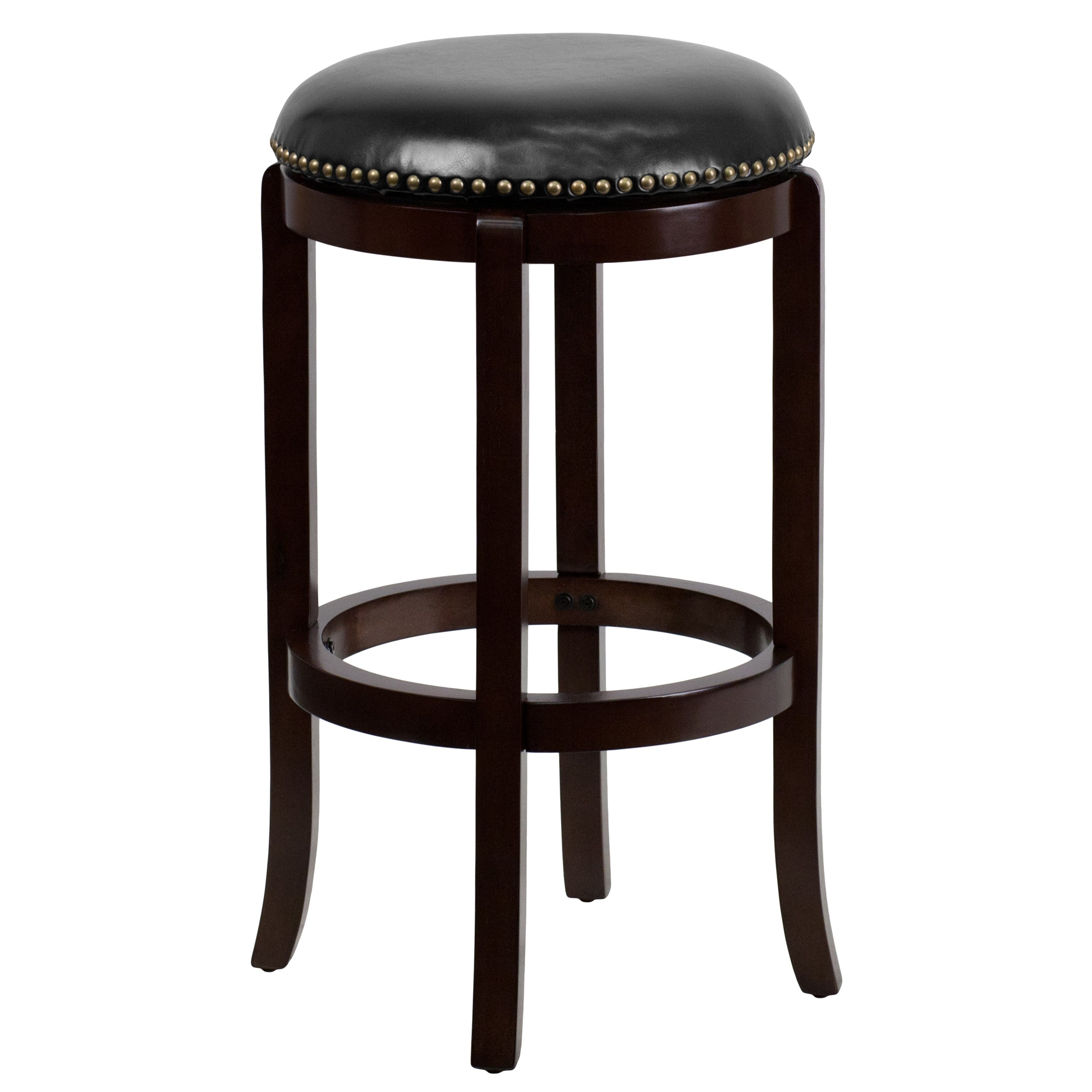 FLASH Furniture Backless 29-inch Wood Bar Stool with Leat...