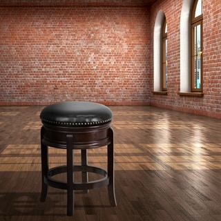 24-inch Backless Wood Counter Height Stool with Leather Swivel Seat