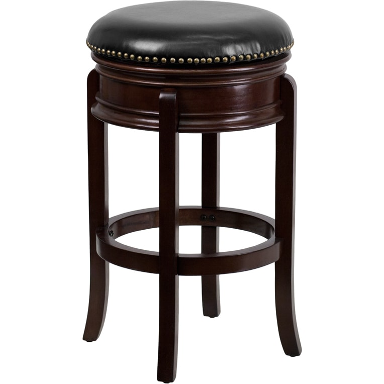 FLASH Furniture 29-inch Backless Wood Bar Stool with Leat...