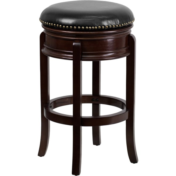 Copper Grove Blackduck 29 Inch Backless Wood Bar Stool With Leather Swivel Seat