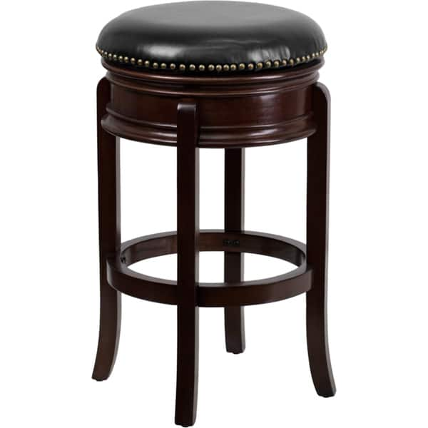 Amazing Copper Grove Blackduck 29 Inch Backless Wood Bar Stool With Leather Swivel Seat Gmtry Best Dining Table And Chair Ideas Images Gmtryco