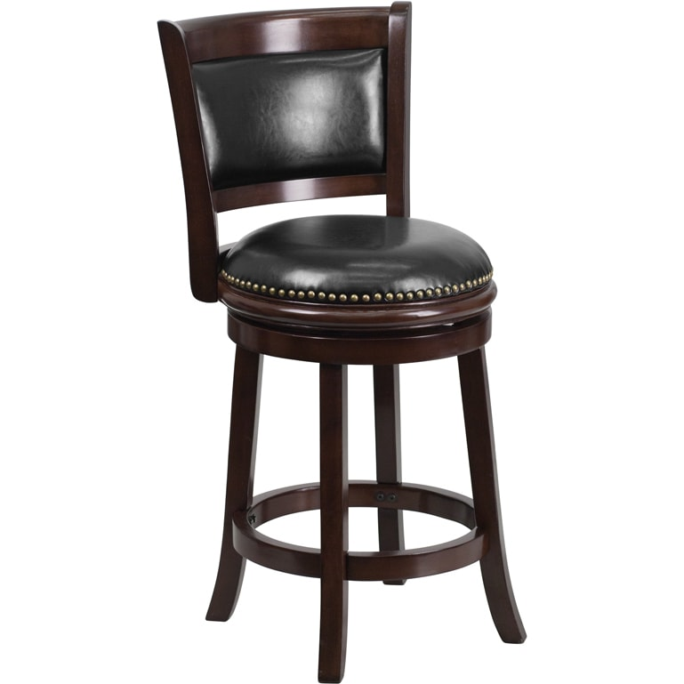 Wood 24 Inch Counter Height Stool With Leather Swivel Seat And Nail