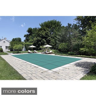 WATERWARDEN 'Made to Last' 16 x 32 ft. Mesh Pool Safety Cover with 4 x 8 ft. Center Step for 14 x 30 ft. Pools
