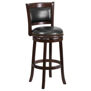 29-inch Wood Bar Stool with Leather Swivel Seat